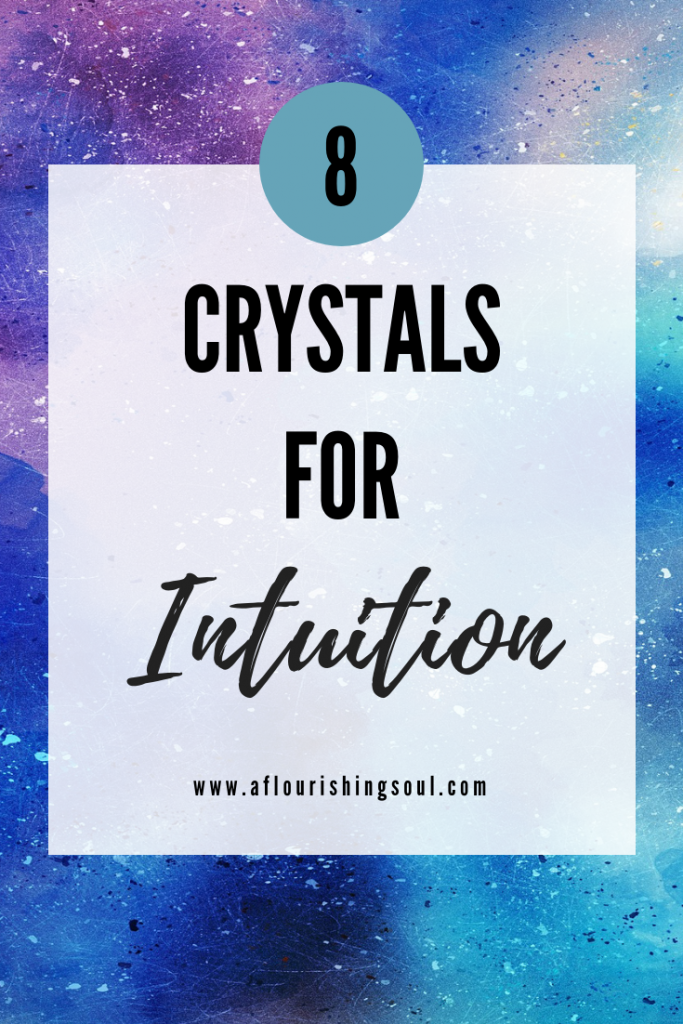 "Blue and purple splatter painted background with the text ""8 crystals for intuition"" in a transparent white box"