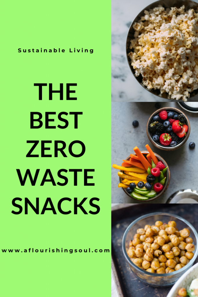 This post shares the best zero waste snacks! All of these are vegetarian and gluten free zero waste snacks. Also, these are zero waste snacks without a bulk bin shop required! #sustainability #zerowaste #sustainableliving #aflourishingsoul